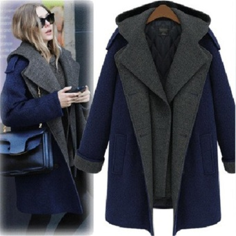 European Style Women Hooded Down Coat Jacket Stylish Female Soft Warm Autumn Winter Thicken Cotton Parka Coat (Blue & Grey) - intl