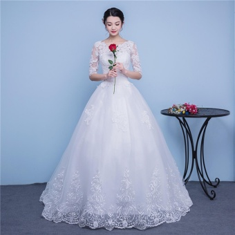 Ever Dresses Ivory Lace Wedding Dress Embroidery Half Sleeve Bridal Gown With Train Intl