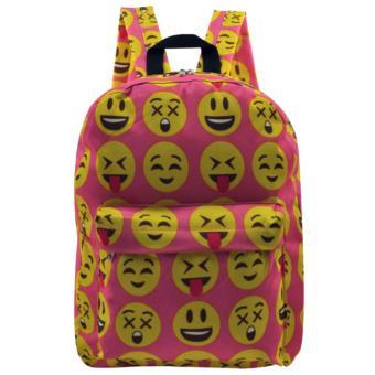 Everyday Deal Emoji Fashion Backpack School Casual Daypack Bag(Pink) - 2