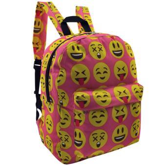 Everyday Deal Emoji Fashion Backpack School Casual Daypack Bag(Pink) - 3