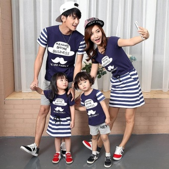 Family Matching Clothes Short Sleeve Father Mother Kids OutfitsMother and Daughter Stripe Cotton Dress (Daughter) - intl