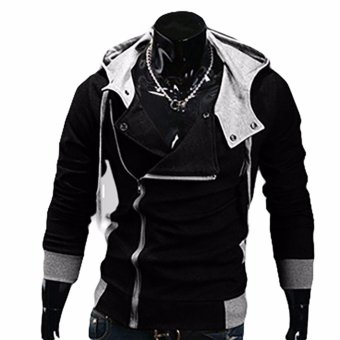 Fancyqube explosion of Assassin s Creed sweater oblique zipperhooded jacket Black - intl