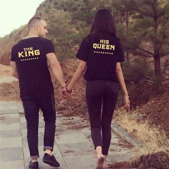 Fancyqube Hot Sale KING QUEEN Funny Letters Printed Couples T Shirt Women Men .