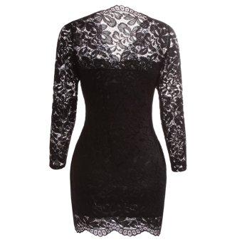 Fancyqube Women V-neck Lace Full Sleeve Mini Dress Black - 2
