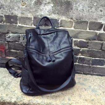 Fashion Backpacks PU leather handbag Korean fashion leisure travel female backpack can handbag Forteenagers Ladies Girl Back Pack Bagpack Mochila (black) - intl - 2