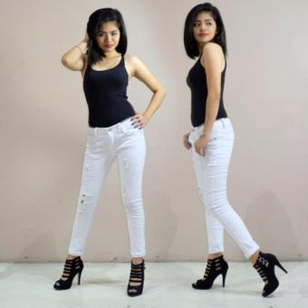 Fashion Balaynor White Tattered Skinny Jeans - 2
