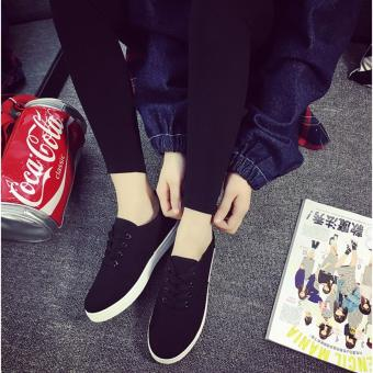Fashion Black Sneakers with Lace for Women - Black Lace - 2