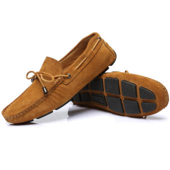 Fashion Bow-knot Lace-Ups Leather Loafers - Brown - picture 2