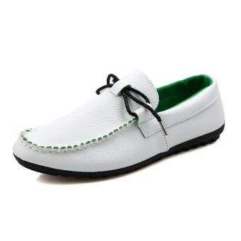 Fashion bow-knot Men Loafers (White) - picture 2