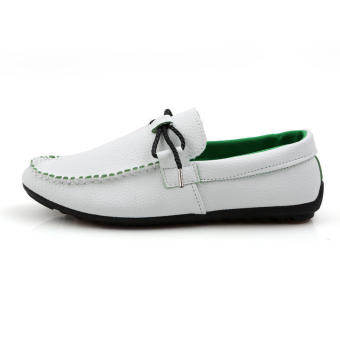 Fashion bow-knot Men Loafers (White)