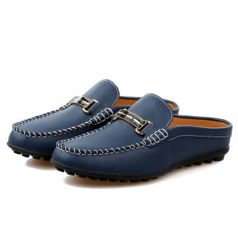 Fashion Breathable Leather Flip-Flops Loafers (Dark Blue) - picture 2