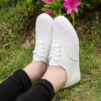 Fashion Canvas White Sneakers For Women - 3