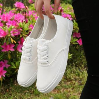 Fashion Canvas White Sneakers For Women - 2