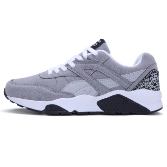 Fashion Casual Men Lace Up Running Sneakers Shoes (GREY) - Intl - 2