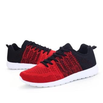 Fashion Casual Men Lace Up Running Sneakers Shoes (Red) - intl - 2