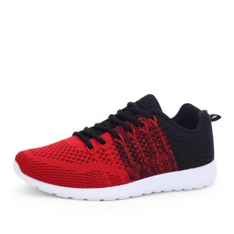 Fashion Casual Men Lace Up Running Sneakers Shoes (Red) - intl - 3