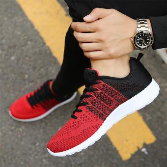 Fashion Casual Men Lace Up Running Sneakers Shoes (Red) - intl - 4