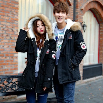 Fashion Couple In The Long Section Of Warm Hair Collar Coat(Black) - intl