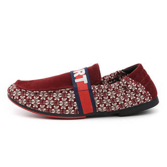 Fashion Floral Necking Autumn Loafers – Red