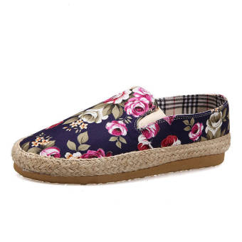 Fashion Flowers Canvas Flat Shoes- Blue