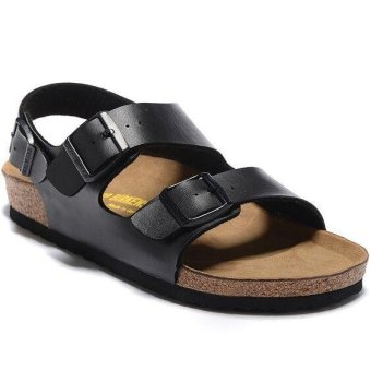 Fashion For Birkenstock Milano Soft Footbed Flat Sandals Men(Black) - intl Price Philippines