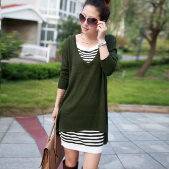 Fashion in the long section loose women knit dress Dress (Green)