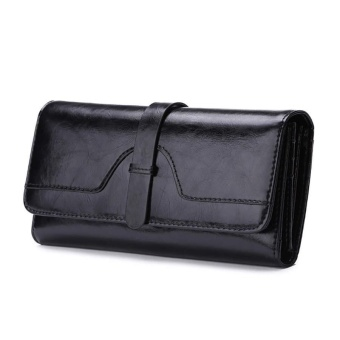 Fashion Lady Leather Long Section Three Fold Wallet Woman HandbagPurse - intl