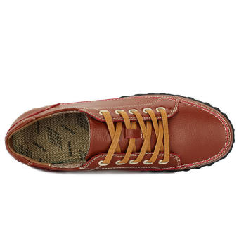 Fashion Leather Brogues Lace-Ups Flat Shoes-Brown
