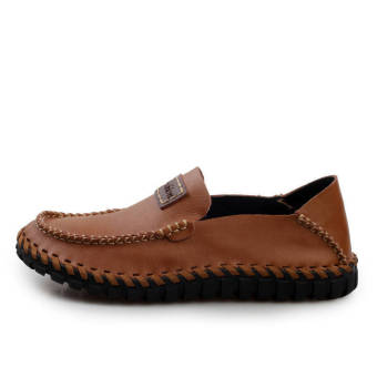 Fashion Leather Flat Loafers (Light Brown) - picture 2