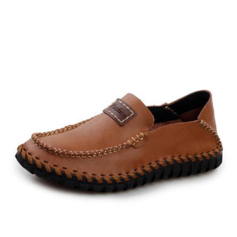 Fashion Leather Flat Loafers (Light Brown)