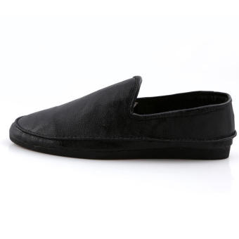 Fashion Leather Flat Loafers Shoes-Black