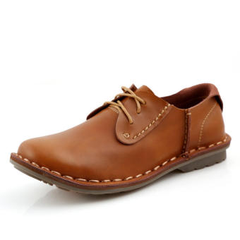 Fashion Leather Flat Shoes-Brown