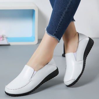 Fashion leather non-slip pregnant women shoes mother shoes (White)