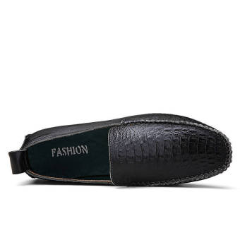 Fashion Leather Round Loafers - Black - picture 2