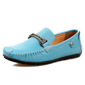 Fashion Leisure Leather Loafers (Light Blue)