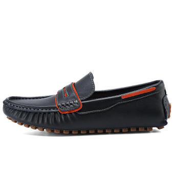 Fashion Men Casual Leather Driving Shoes- Black