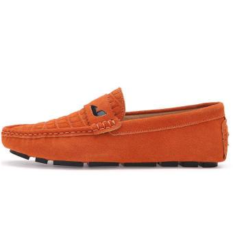 Fashion Men Flat Loafers - Orange