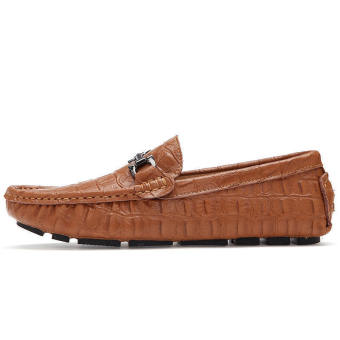 Fashion Men Simple Flat Loafers - Brown - picture 2