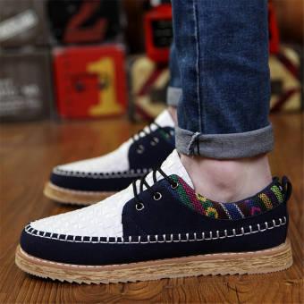 Fashion Men Woodgrain Flat Loafers – White