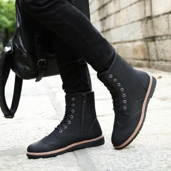 Fashion Men's Casual Boots (Black) - intl