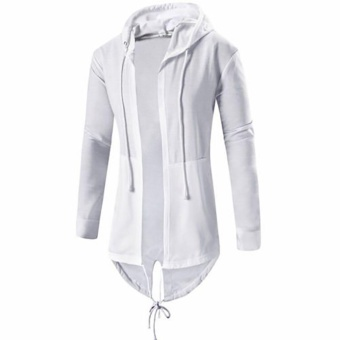 Fashion Mens Cardigan Fit Jacket Hooded Long Cloak Cape CoatCosplay Loose Casual Slim White - intl - 4