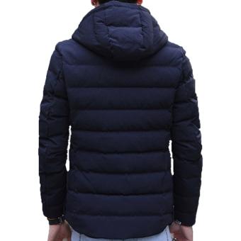 Fashion Men's Winter Warm Hooded Light Weight Down Jacket Coat(Blue) - intl - 2