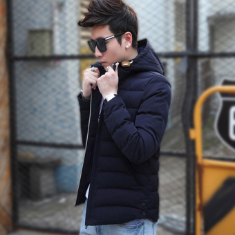 Fashion Men's Winter Warm Hooded Light Weight Down Jacket Coat(Blue) - intl - 3