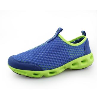 Fashion Mesh Men Low Cut Sneakers-Blue