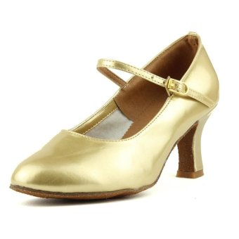 Fashion modern woman's ballroom salsa dance shoes latin shoes(Gold)(Intl)