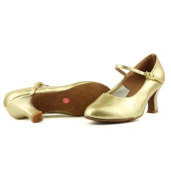 Fashion modern woman's ballroom salsa dance shoes latin shoes(Gold)(Intl) - 4