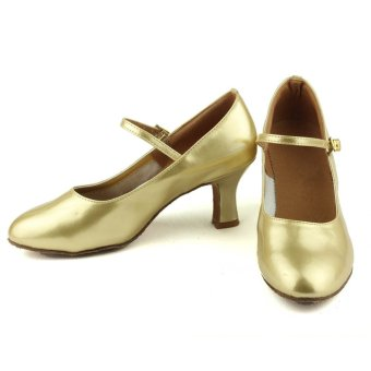 Fashion modern woman's ballroom salsa dance shoes latin shoes(Gold)(Intl) - 5