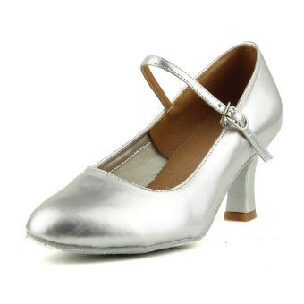 Fashion modern woman's ballroom salsa dance shoes latinshoes(Sliver) (Intl)
