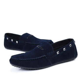 Fashion New Rivet Leather Loafers (Dark Blue)