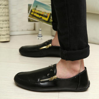Fashion New Simple Leather Loafers -Black